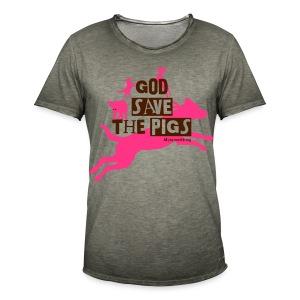 God Save the Pigs Color - Männer Vintage T-Shirt