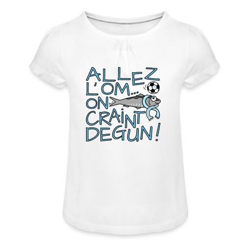 T-shirt Fille Allez l'OM, On Craint Degun, Marseille - T-shirt à fronces au col Fille