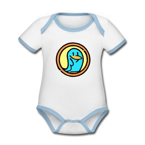 BlueLittleBird Vogel  - Baby Bio-Kurzarm-Kontrastbody