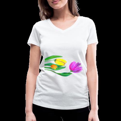 FrauenT-Shirt Tulpen - Frauen Bio-T-Shirt mit V-Ausschnitt von Stanley & Stella