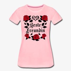Beste Freundin Tattoo Herz rote Rosen Liebe T-Shirt 40 - Frauen Premium T-Shirt