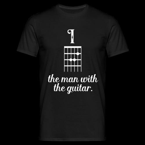 Männer T-Shirt - I am the man with the guitar - Cooler Gitarren Männer Spruch, ideal als Geschenk für jemanden, der das Gitarre spielen liebt, sei es professionell oder als Hobby Gitarrist, in einer Band oder solo.
