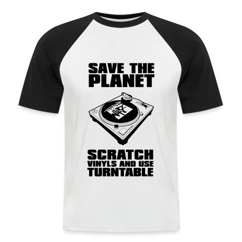 T-Shirt homme Scratch vinyl noir et blanc - T-shirt baseball manches courtes Homme