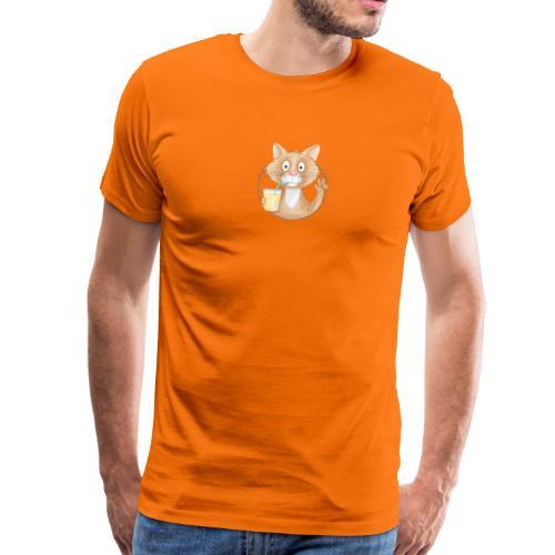 Katze mit Limonade - Männer Premium T-Shirt  - Männer Premium T-Shirt
