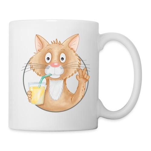 Katze mit Limonade - Tasse weiß  - Tasse
