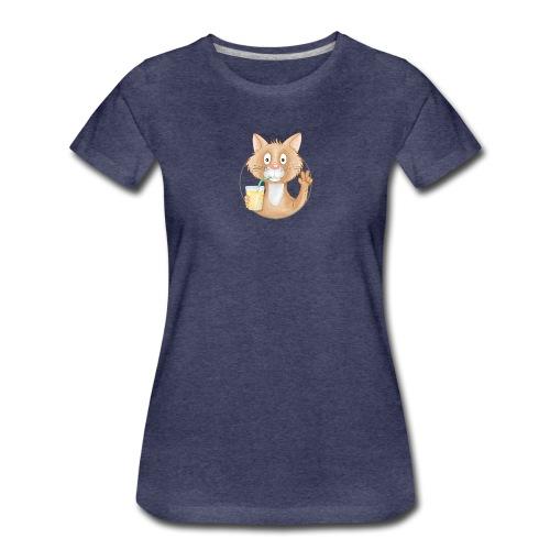 Katze mit Limonade - Frauen Premium T-Shirt  - Frauen Premium T-Shirt