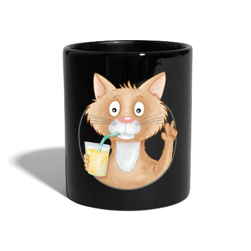 Katze mit Limonade - Tasse farbig - Tasse einfarbig