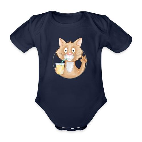 Katze mit Limonade - Baby Bio-Kurzarm-Body - Baby Bio-Kurzarm-Body