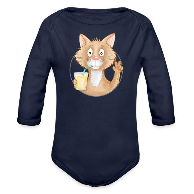 Katze mit Limonade - Baby Bio-Langarm-Body