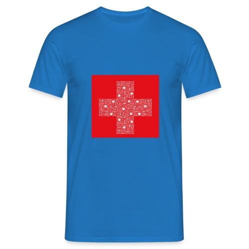 Schweizerfahne Computerplatine - Männer T-Shirt