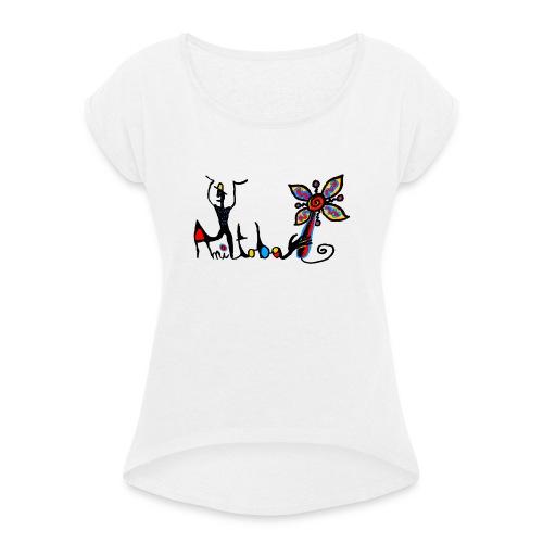 manitofleur - T-shirt à manches retroussées Femme