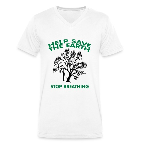 Save The Earth -Hom -Flex lisse + logo dos - T-shirt bio col V Stanley & Stella Homme