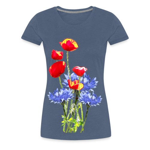 Mohn-Kornblume-Collage - Frauen Premium T-Shirt