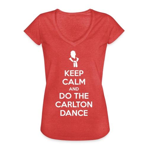 KEEP CALM &CARLTON DANCE Femme t-shirt col V vintage rouge chiné - T-shirt vintage Femme