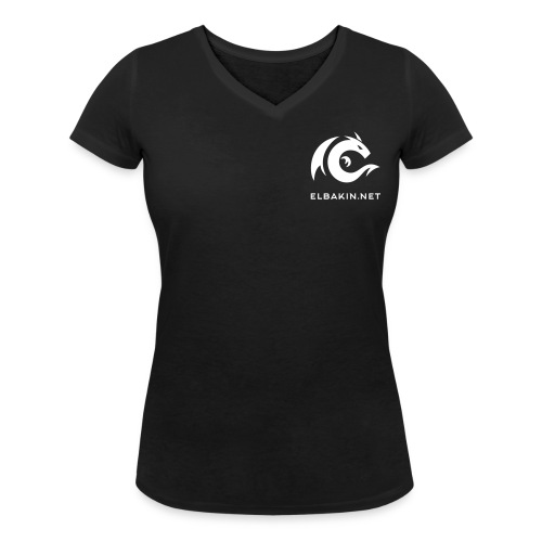 T-shirt femme noir manches courtes logo blanc - T-shirt bio col V Stanley & Stella Femme