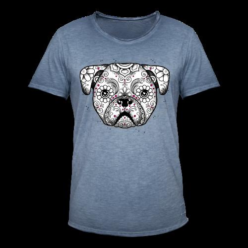 Puppy Calavera BW - Männer Vintage T-Shirt