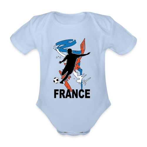 Football bleu blanc rouge - Organic Short-sleeved Baby Bodysuit