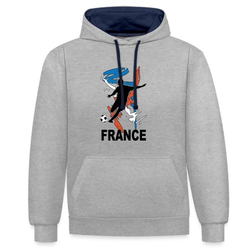 Football bleu blanc rouge - Contrast Colour Hoodie