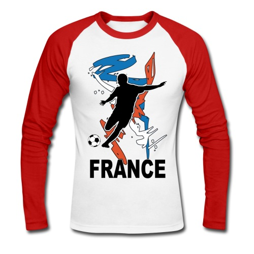 Football bleu blanc rouge - Men's Long Sleeve Baseball T-Shirt