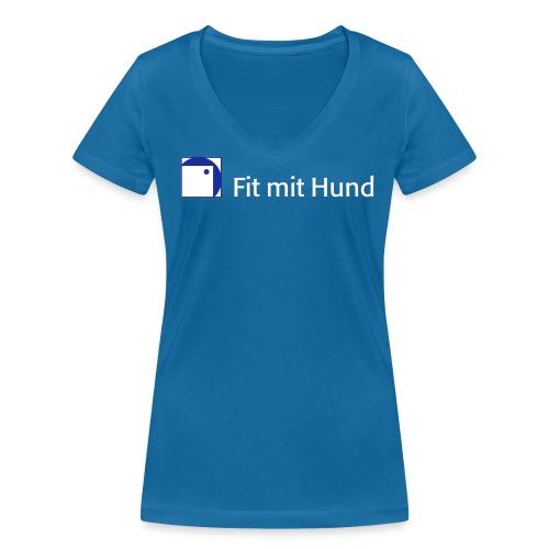 Fit mit Hund® Frauen-V-T-Shirt dunkle Farben (figurbetont, fällt eine Nummer kleiner aus) - Frauen Bio-T-Shirt mit V-Ausschnitt von Stanley & Stella