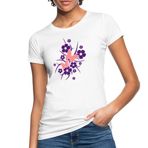 Schmetterlings-Blumen - Frauen Bio-T-Shirt weiß  - Frauen Bio-T-Shirt