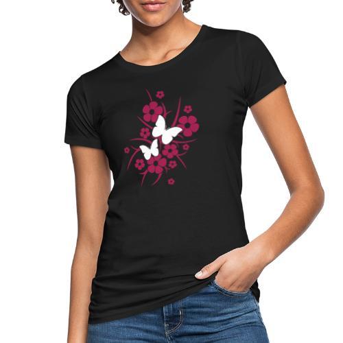 Schmetterlings-Blumen - Frauen Bio-T-Shirt schwarz - Frauen Bio-T-Shirt