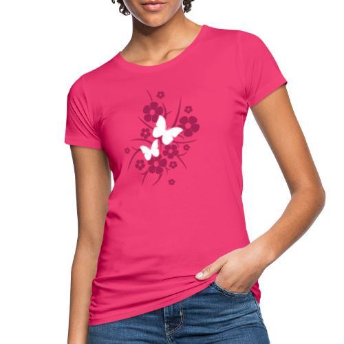 Schmetterlings-Blumen - Frauen Bio-T-Shirt pink  - Frauen Bio-T-Shirt