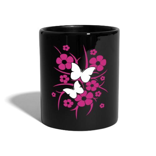 Schmetterlings-Blumen - Tasse schwarz - Tasse einfarbig