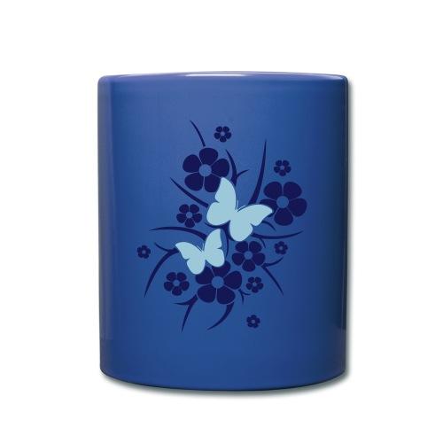 Schmetterlings-Blumen - Tasse blau - Tasse einfarbig
