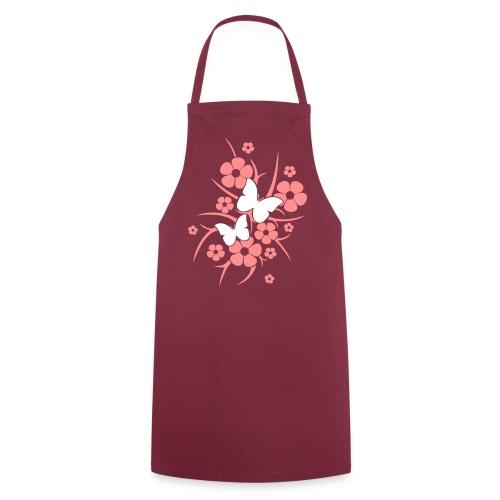 Schmetterlings-Blumen - Kochschürze bordeaux - Kochschürze