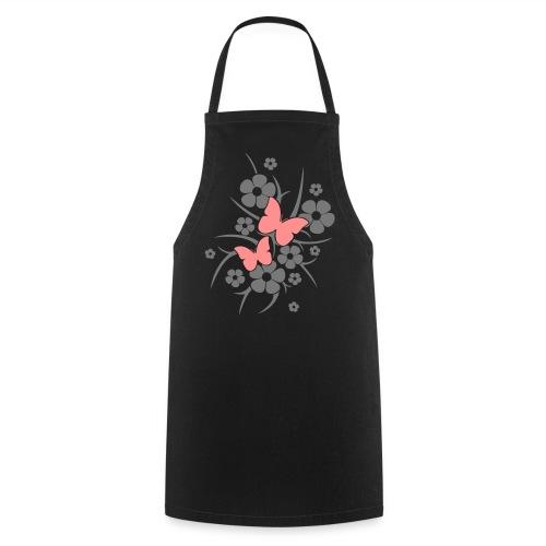 Schmetterlings-Blumen - Kochschürze schwarz - Kochschürze