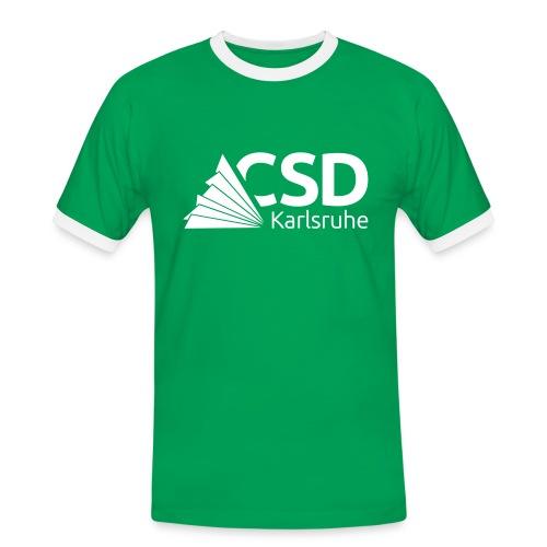 Männer-Shirt grün/weiß (Flockdruck) - Männer Kontrast-T-Shirt
