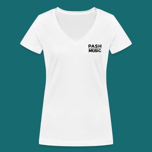 PASH MUSIC Premium Top Schwarz auf Weiß - Frauen Bio-T-Shirt mit V-Ausschnitt von Stanley & Stella