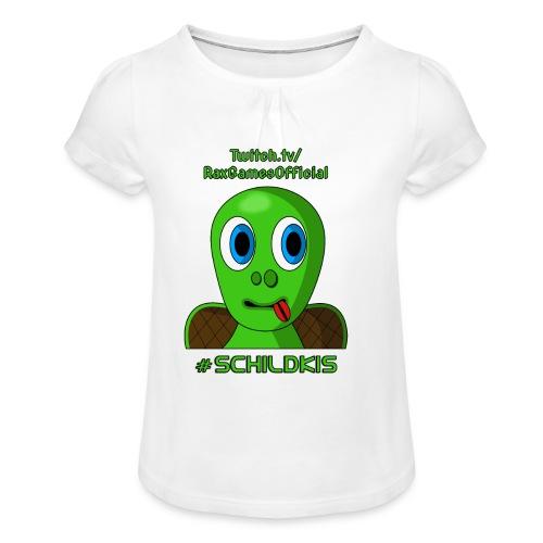 Schildki Motiv 1 - Kinder Shirt (Weiblich) - Mädchen-T-Shirt mit Raffungen
