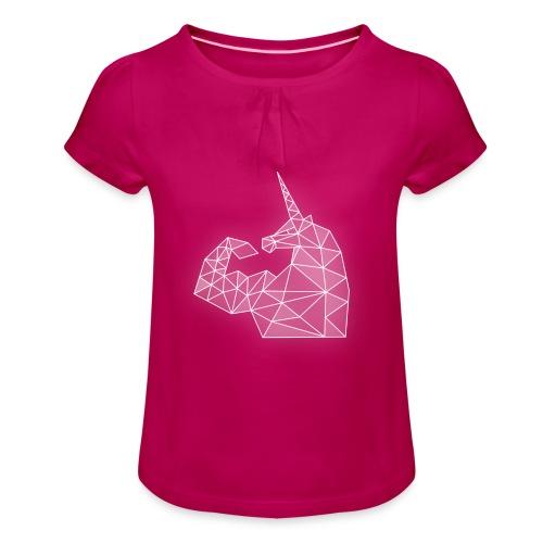 Mädchen-T-Shirt mit Raffungen - Bizepseinhorn Kristall - Mädchen-T-Shirt mit Raffungen
