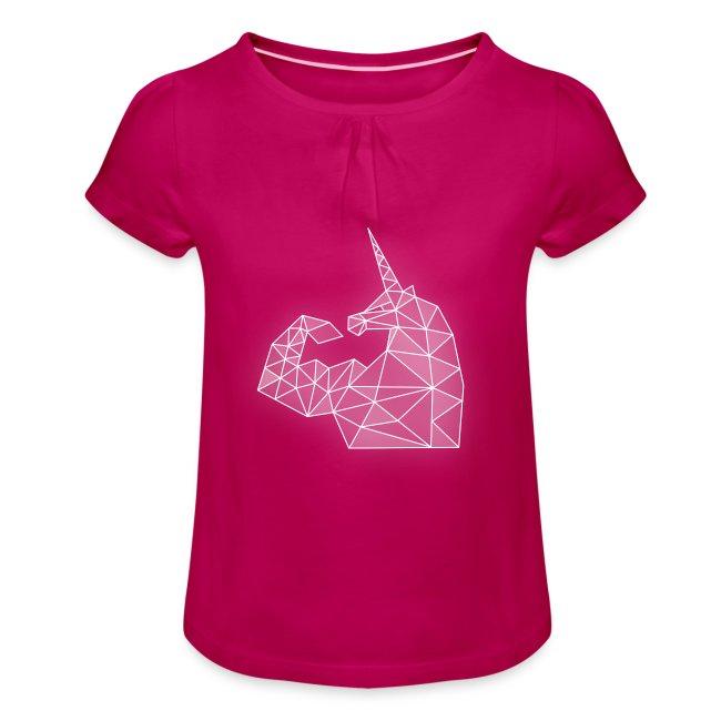 Mädchen-T-Shirt mit Raffungen - Bizepseinhorn Kristall