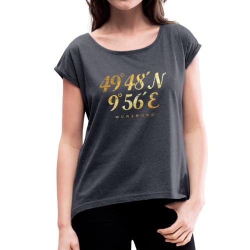Würzburg Koordinaten T-Shirt (Vintage Gold) - Frauen T-Shirt mit gerollten Ärmeln