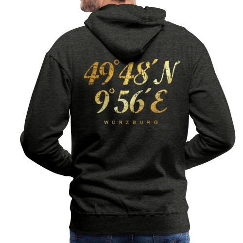 Würzburg Koordinaten Hoodie (Vintage Gold) - Männer Premium Hoodie