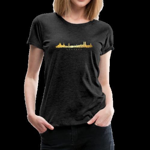 München Skyline T-Shirt (Vintage Gold) - Frauen Premium T-Shirt
