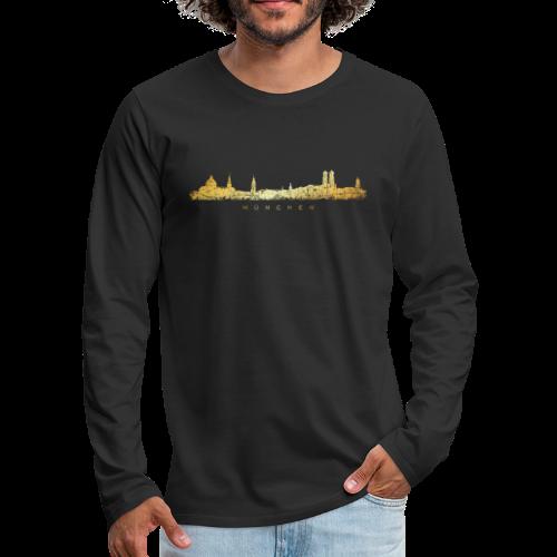 München Skyline Shirt (Vintage Gold) - Männer Premium Langarmshirt