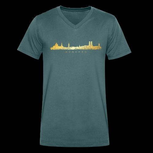 München Skyline Bio T-Shirt (Vintage Gold) - Männer Bio-T-Shirt mit V-Ausschnitt von Stanley & Stella