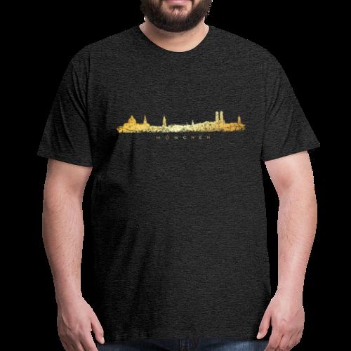 München Skyline T-Shirt (Vintage Gold) - Männer Premium T-Shirt