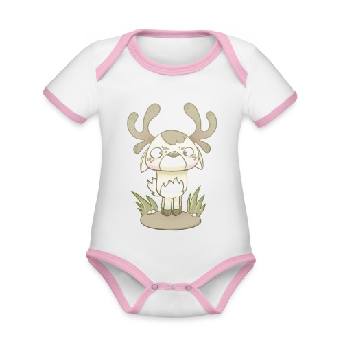 petit cerf - Body Bébé bio contrasté manches courtes