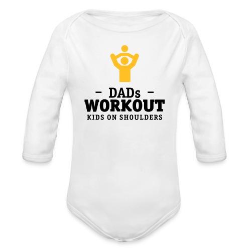 Papas workout mit Kind auf Schultern Baby Bodys - Baby Bio-Langarm-Body
