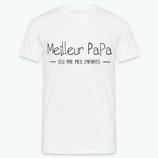 T-shirt meilleur papa élu par mes enfants blanc par Tshirt Family