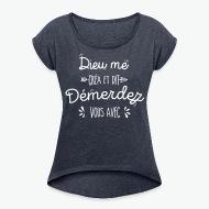 T-shirt Démerdez vous avec bleu marine chiné par Tshirt Family