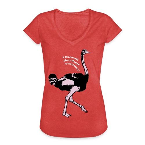 Strauss-  Kopf im Sand - Frauen Vintage T-Shirt