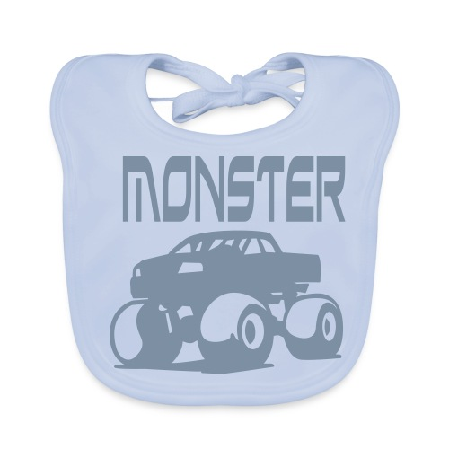 Mini monster blue - Ekologisk babyhaklapp