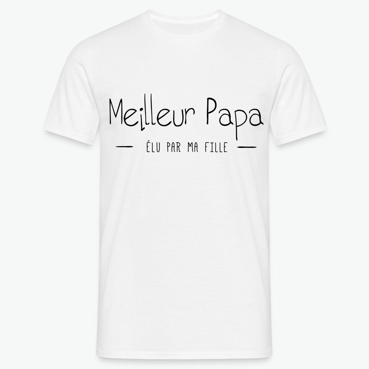 T-shirt Meilleur papa élu par ma fille T-shirt Homme   Tshirt Family de04f0a46176
