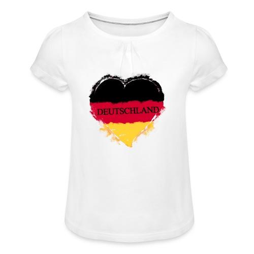 Deutschland Herz   Mädchen-T-Shirt mit Raffungen - Mädchen-T-Shirt mit Raffungen